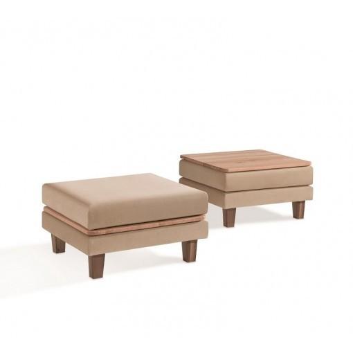 Hocker met salontafel mogelijkheid door houten blad 80x80 cm Dormiente