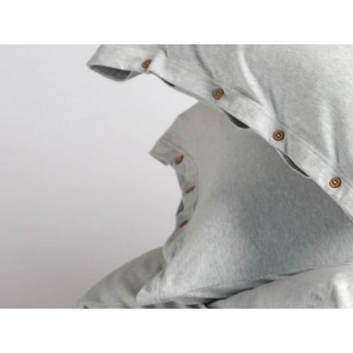 Dekbedovertrekset jersey white grey