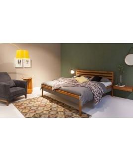 TEAM 7 Mylon houten design bed met gestoffeerde bedzijden