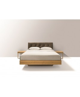 TEAM 7 zwevend design bed FLOAT met leren hoofdbord