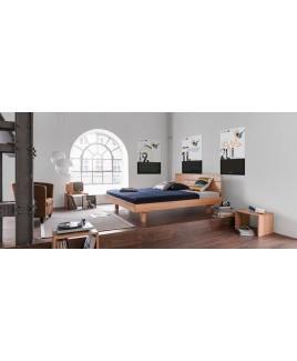 Bed Plain met hoofdbord massief hout Dormiente