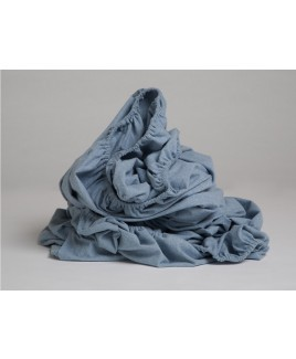 Flanellen hoeslaken velvet light blue Yumeko biologisch katoen