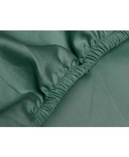 Hoeslaken Deep Green katoen satijn donker groen biologisch ecologisch Yumeko