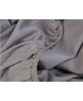 Hoeslaken katoen satijn stone grey Yumeko grijs